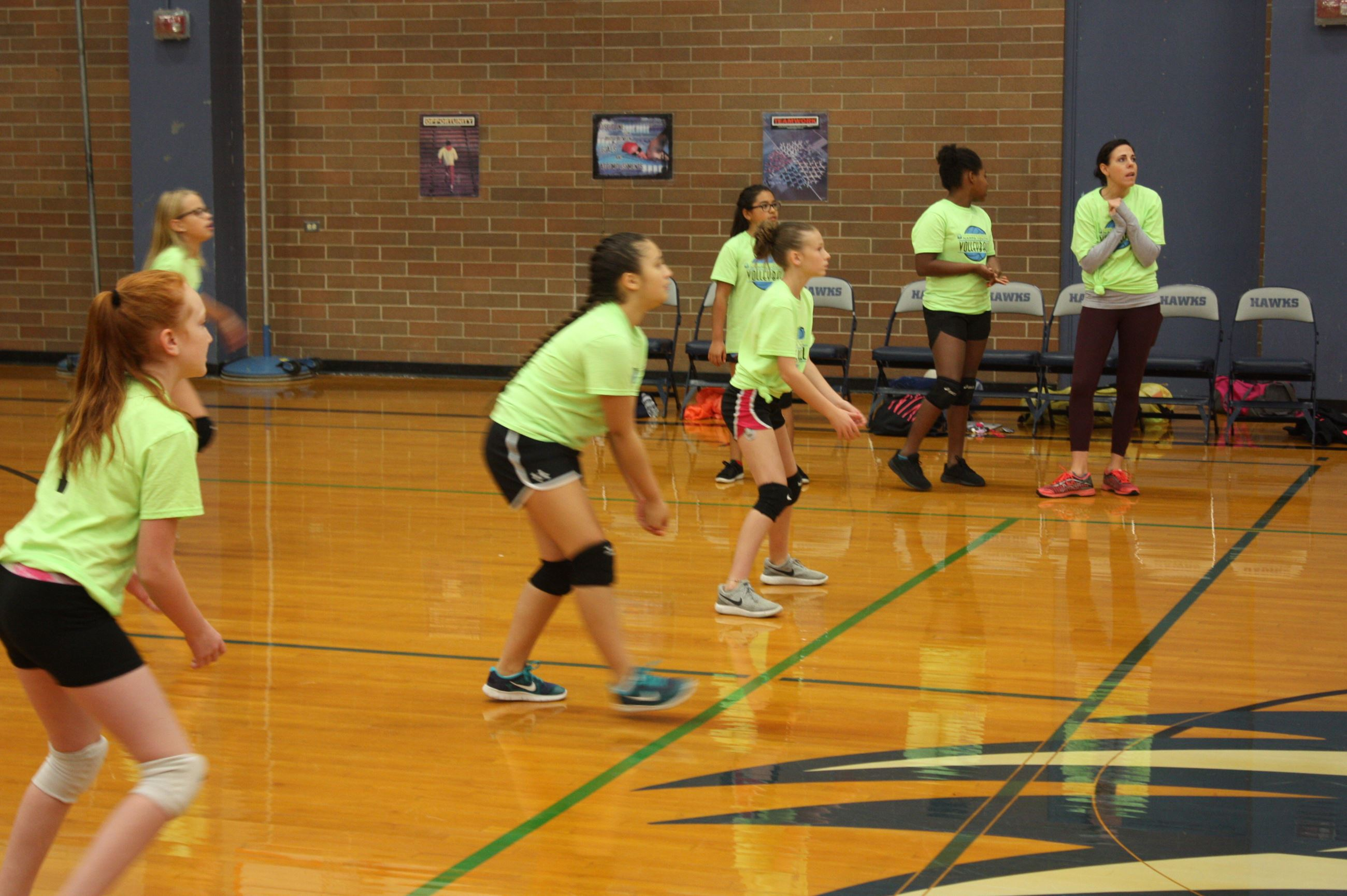 Girls on volleyball court during Nampa Youth Volleyball