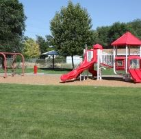 Red and White Playground Structure