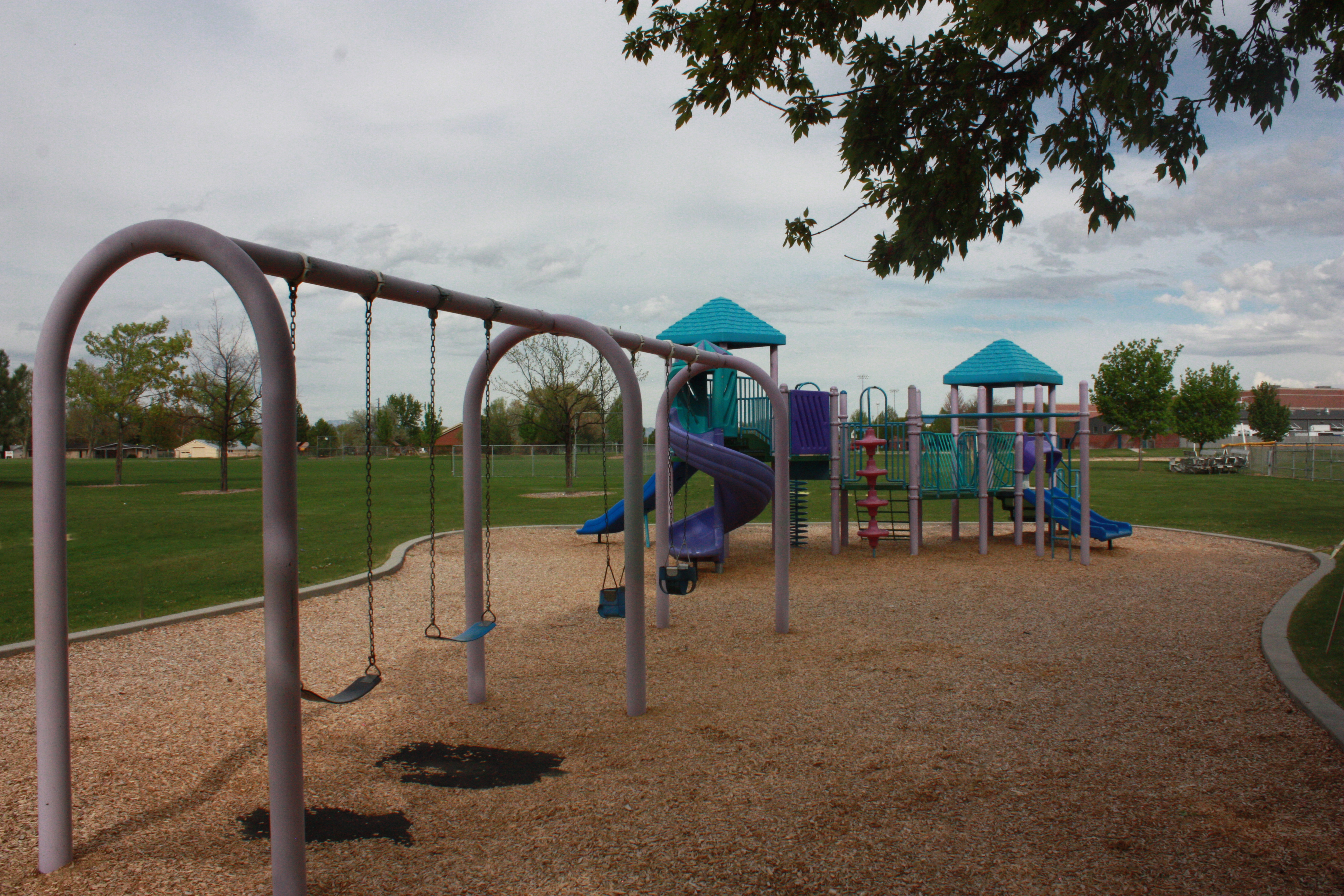 Four swings and a teal and purple play structure