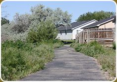 Indian Creek Pathway Bends by a Residential Area