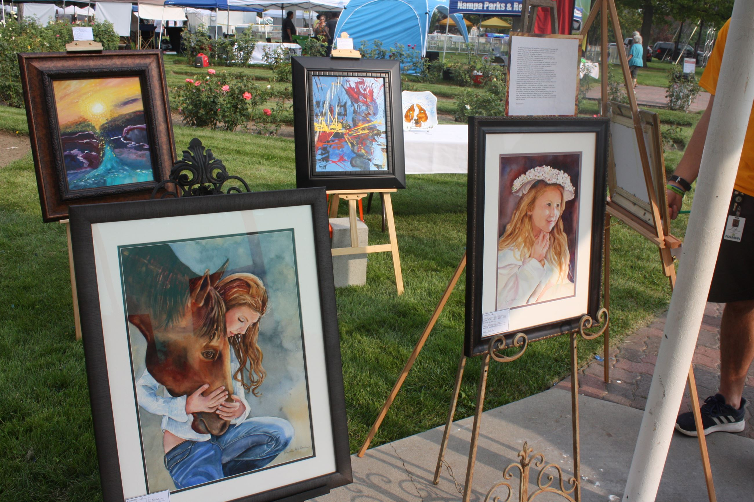 Paintings in the juried art show at the Nampa Festival of the Arts