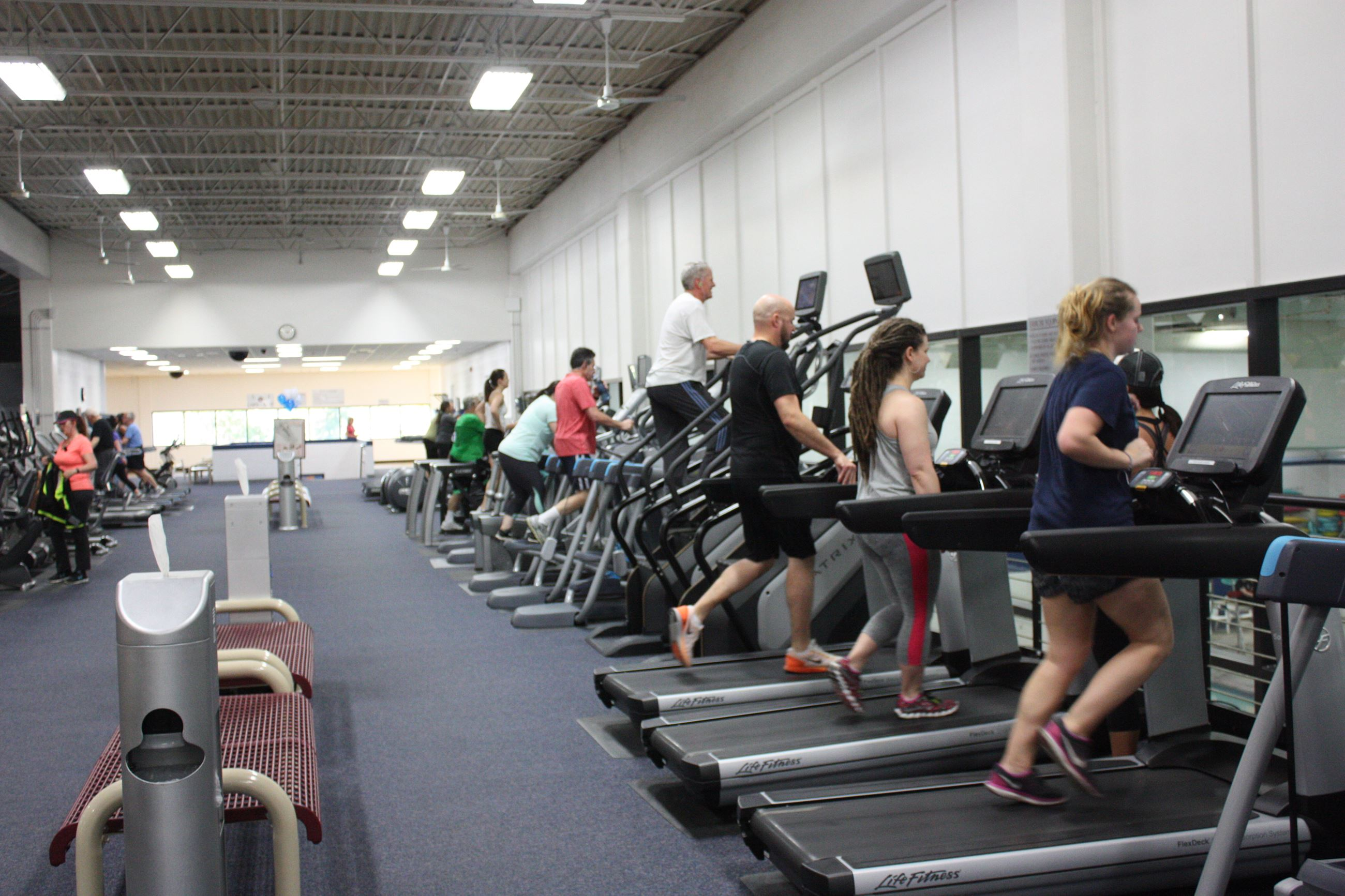 People on treadmills at Spring Kickoff