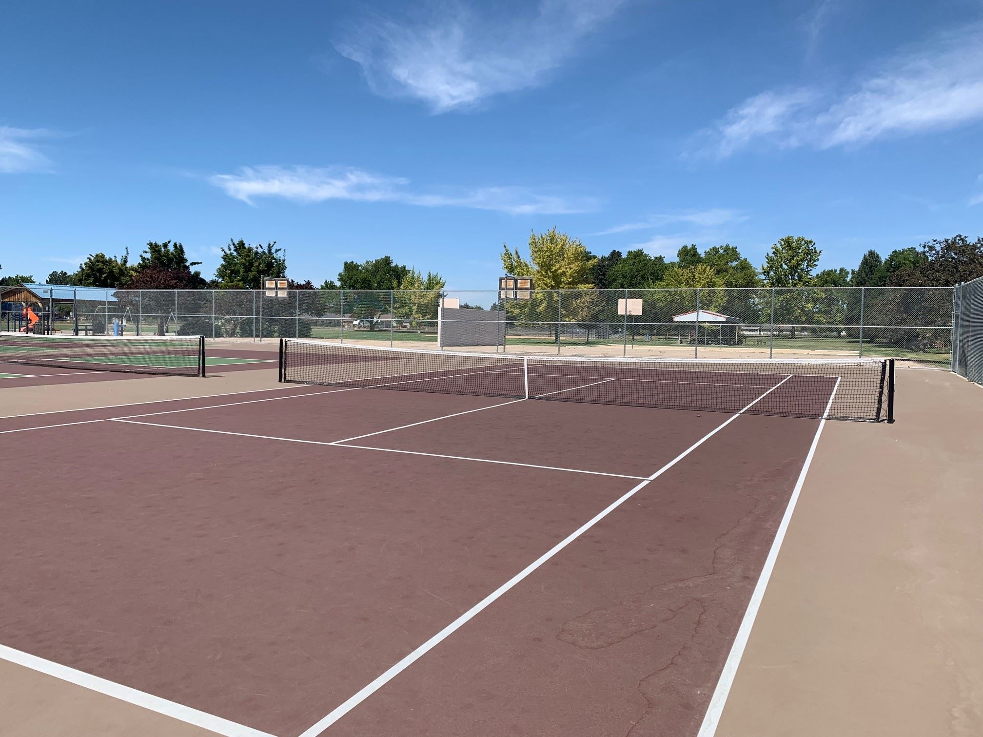 empty tennis court at Lions Park