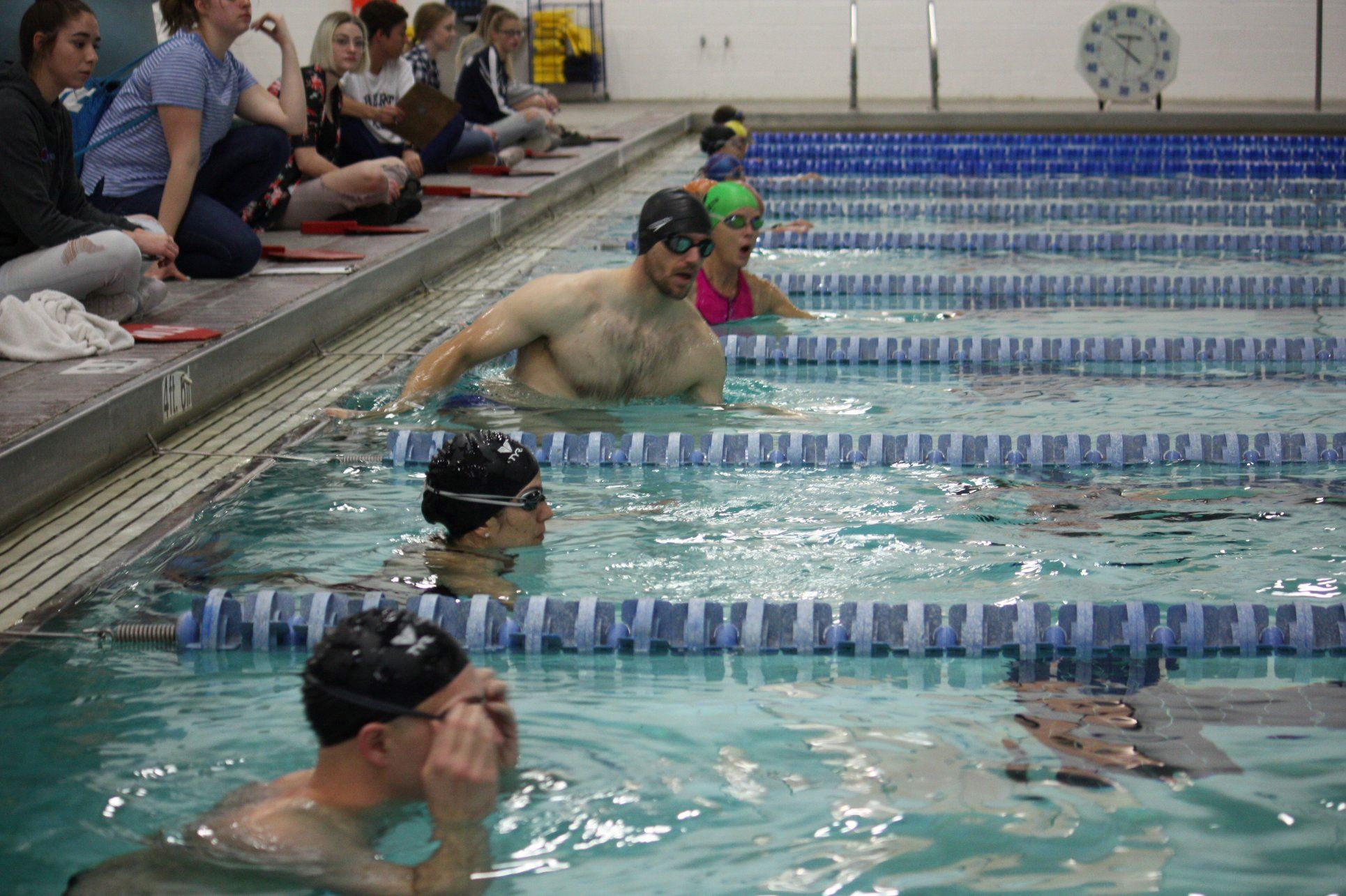 swimmers in the indoor triathlon